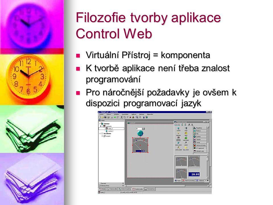 Filozofie tvorby aplikace Control Web Virtuální Přístroj = komponenta Virtuální Přístroj = komponenta K tvorbě aplikace není třeba znalost programován