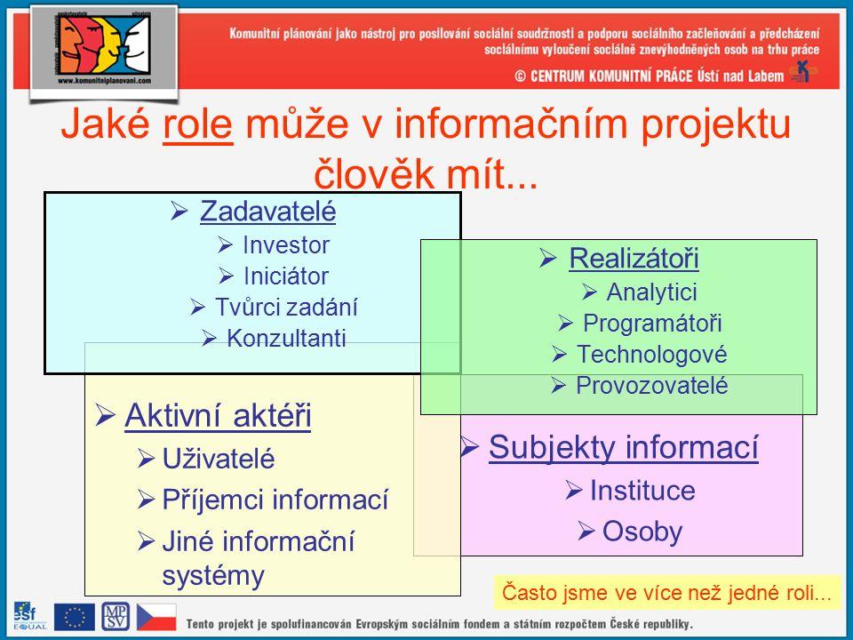 11 Jaké role může v informačním projektu člověk mít...