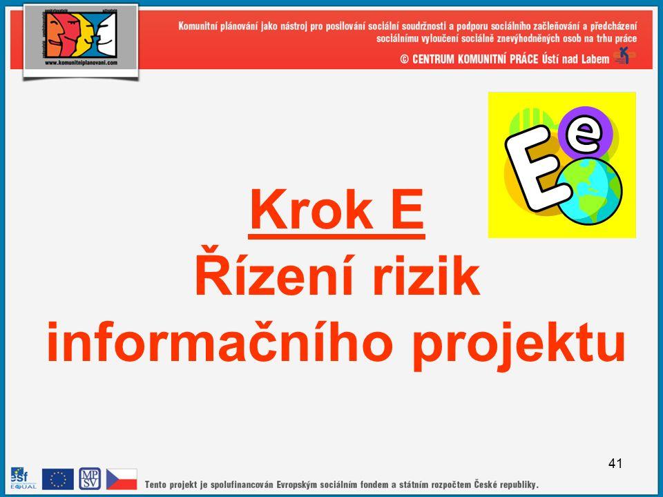 41 Krok E Řízení rizik informačního projektu
