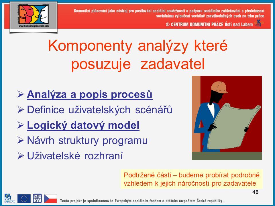 48 Komponenty analýzy které posuzuje zadavatel  Analýza a popis procesů  Definice uživatelských scénářů  Logický datový model  Návrh struktury programu  Uživatelské rozhraní Podtržené části – budeme probírat podrobně vzhledem k jejich náročnosti pro zadavatele