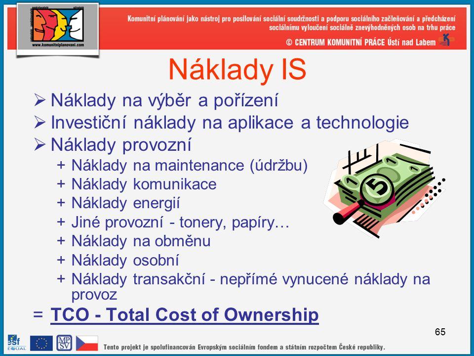 65 Náklady IS  Náklady na výběr a pořízení  Investiční náklady na aplikace a technologie  Náklady provozní +Náklady na maintenance (údržbu) +Náklady komunikace +Náklady energií +Jiné provozní - tonery, papíry… +Náklady na obměnu +Náklady osobní +Náklady transakční - nepřímé vynucené náklady na provoz =TCO - Total Cost of Ownership