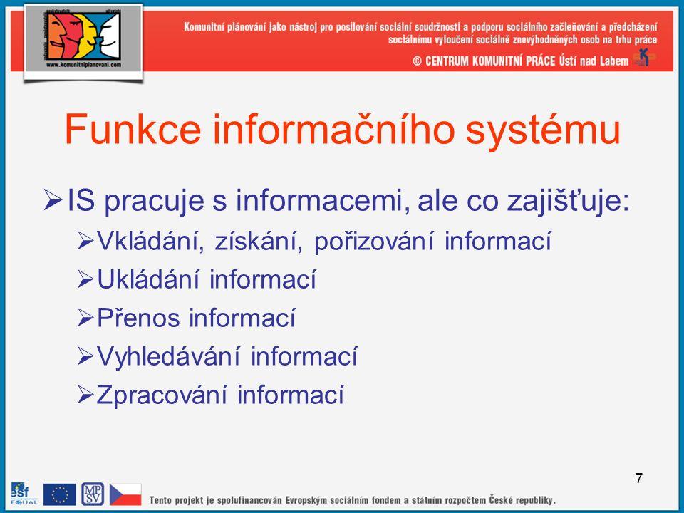 7 Funkce informačního systému  IS pracuje s informacemi, ale co zajišťuje:  Vkládání, získání, pořizování informací  Ukládání informací  Přenos informací  Vyhledávání informací  Zpracování informací