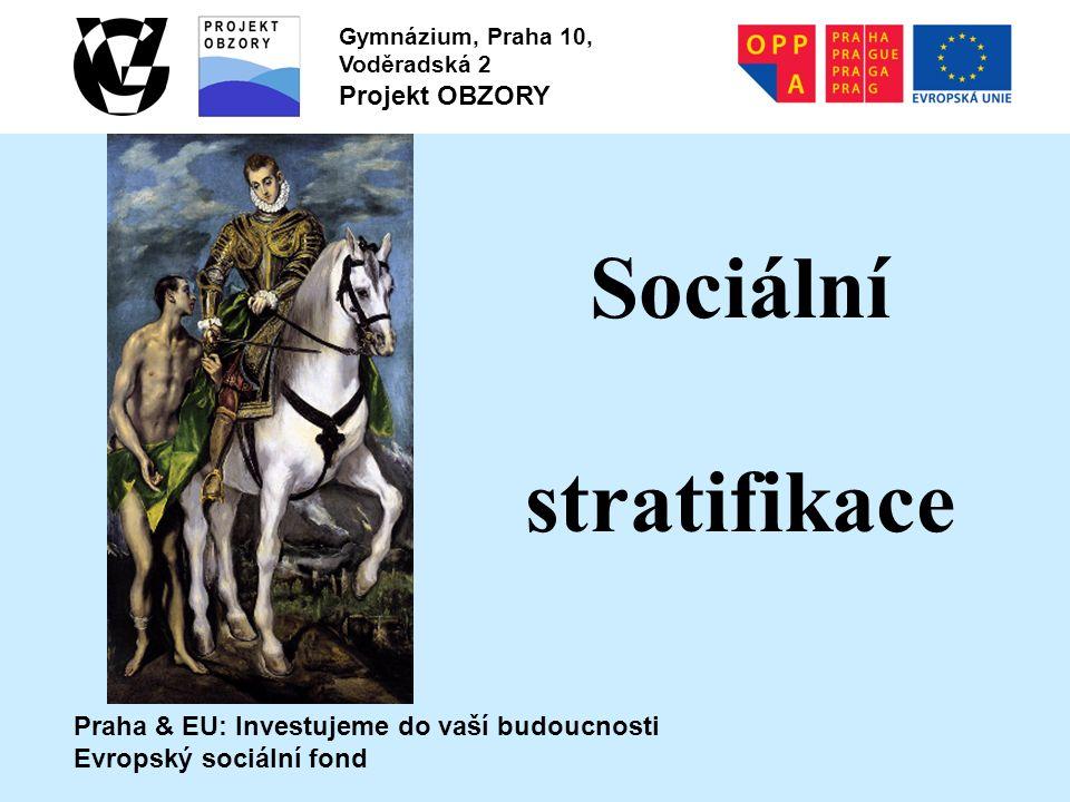 Praha & EU: Investujeme do vaší budoucnosti Evropský sociální fond Gymnázium, Praha 10, Voděradská 2 Projekt OBZORY Sociální stratifikace