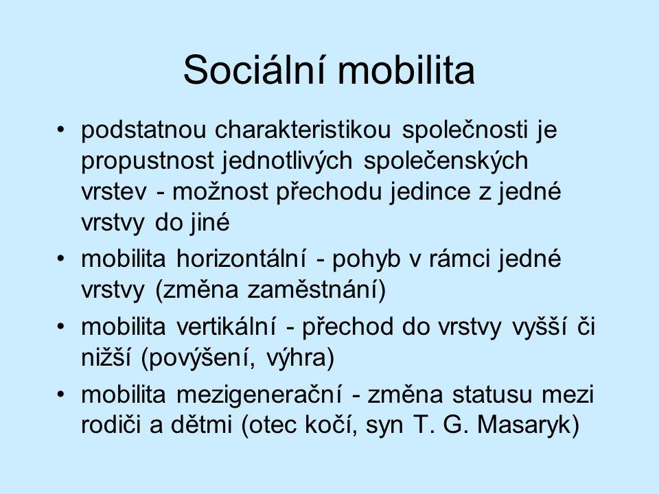 Sociální mobilita podstatnou charakteristikou společnosti je propustnost jednotlivých společenských vrstev - možnost přechodu jedince z jedné vrstvy do jiné mobilita horizontální - pohyb v rámci jedné vrstvy (změna zaměstnání) mobilita vertikální - přechod do vrstvy vyšší či nižší (povýšení, výhra) mobilita mezigenerační - změna statusu mezi rodiči a dětmi (otec kočí, syn T.