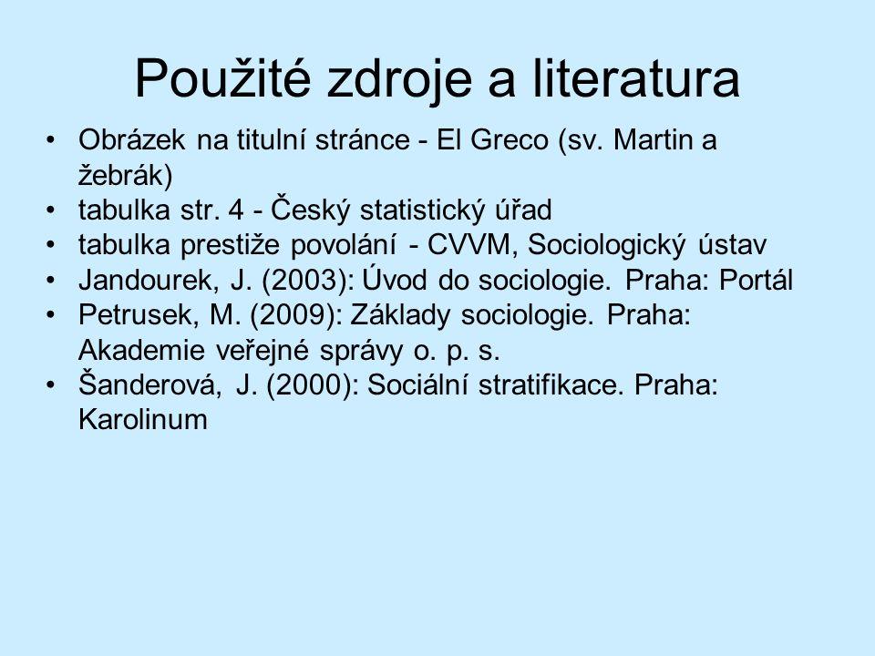 Použité zdroje a literatura Obrázek na titulní stránce - El Greco (sv. Martin a žebrák) tabulka str. 4 - Český statistický úřad tabulka prestiže povol