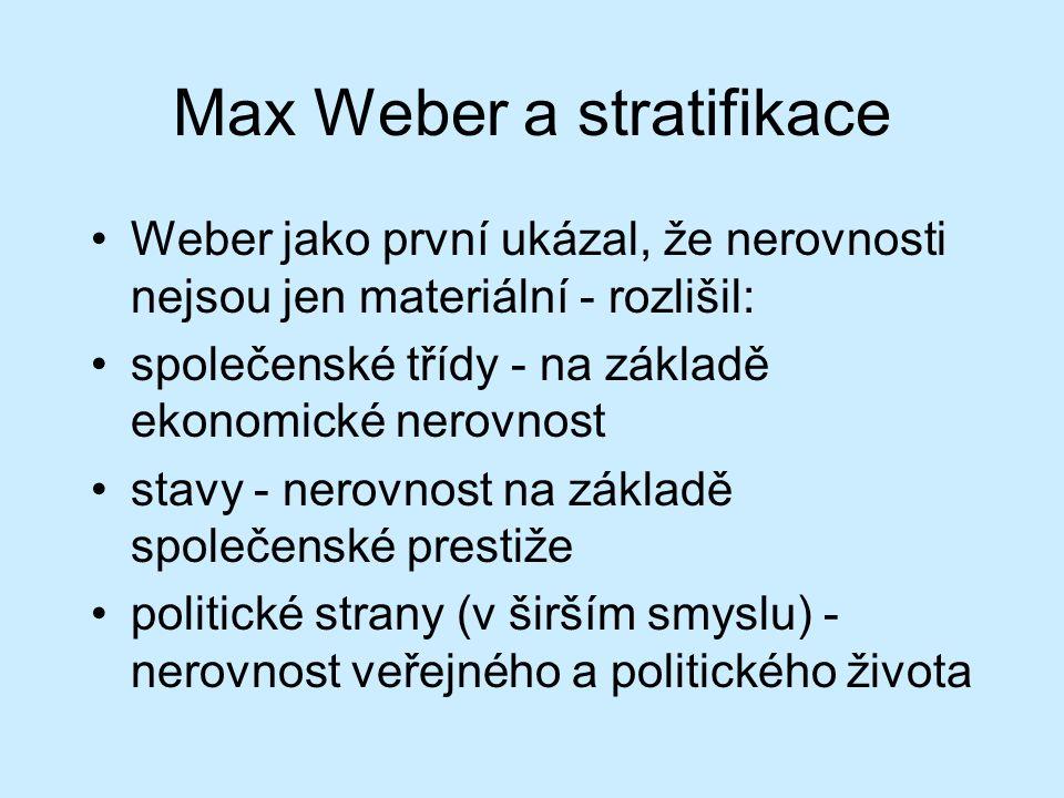 Max Weber a stratifikace Weber jako první ukázal, že nerovnosti nejsou jen materiální - rozlišil: společenské třídy - na základě ekonomické nerovnost stavy - nerovnost na základě společenské prestiže politické strany (v širším smyslu) - nerovnost veřejného a politického života