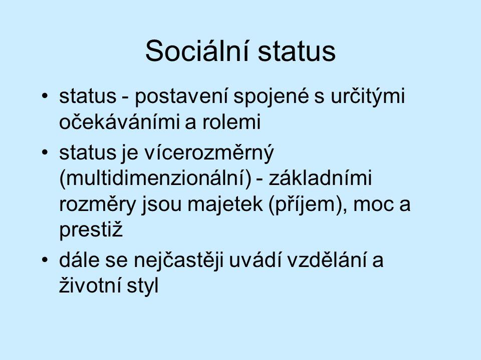 Sociální status status - postavení spojené s určitými očekáváními a rolemi status je vícerozměrný (multidimenzionální) - základními rozměry jsou majet