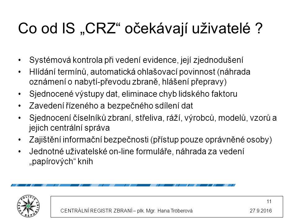 """Co od IS """"CRZ očekávají uživatelé ."""