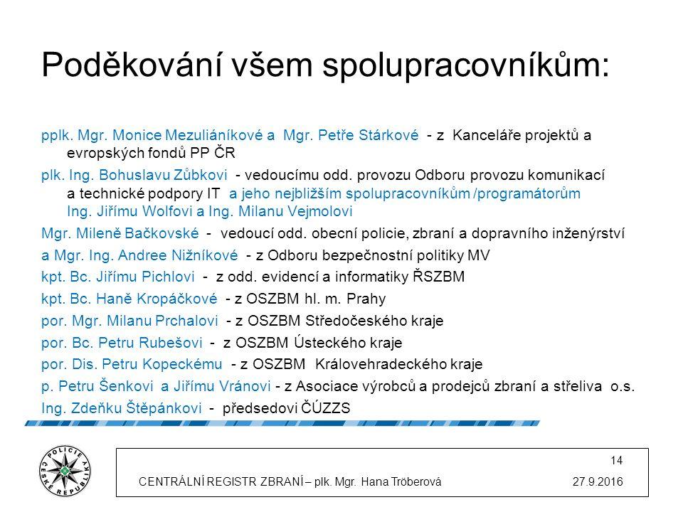 Poděkování všem spolupracovníkům: pplk. Mgr. Monice Mezuliáníkové a Mgr.