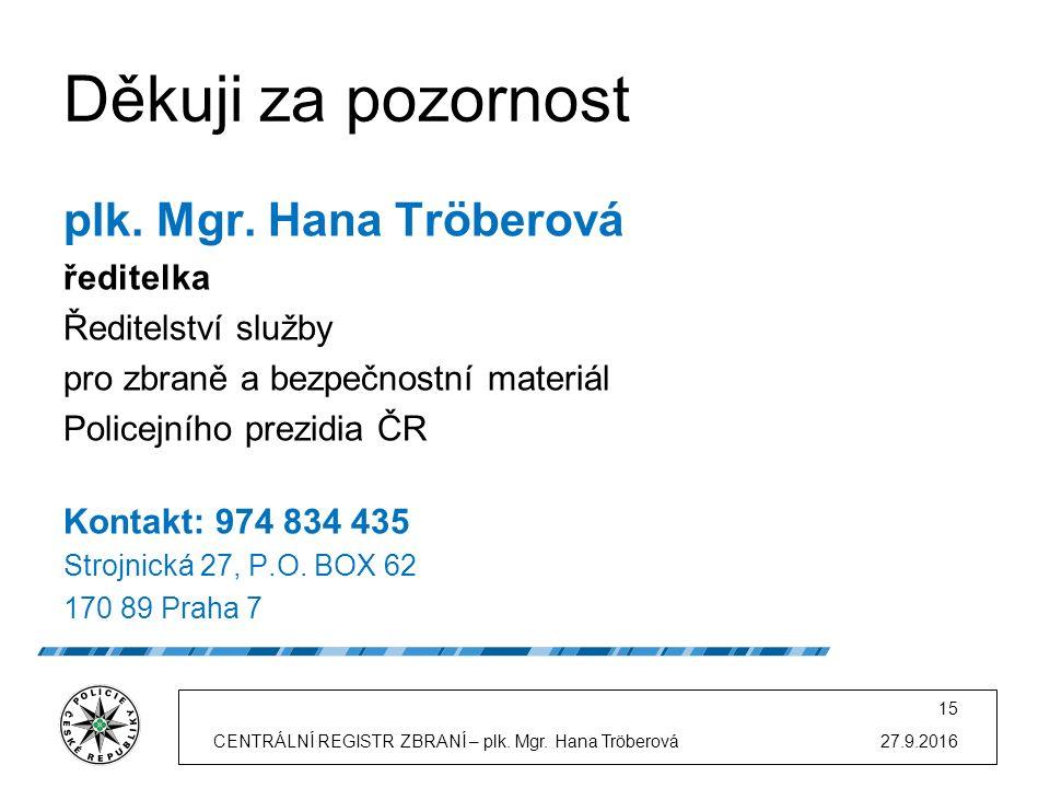 27.9.2016CENTRÁLNÍ REGISTR ZBRANÍ – plk. Mgr. Hana Tröberová 15 Děkuji za pozornost plk.