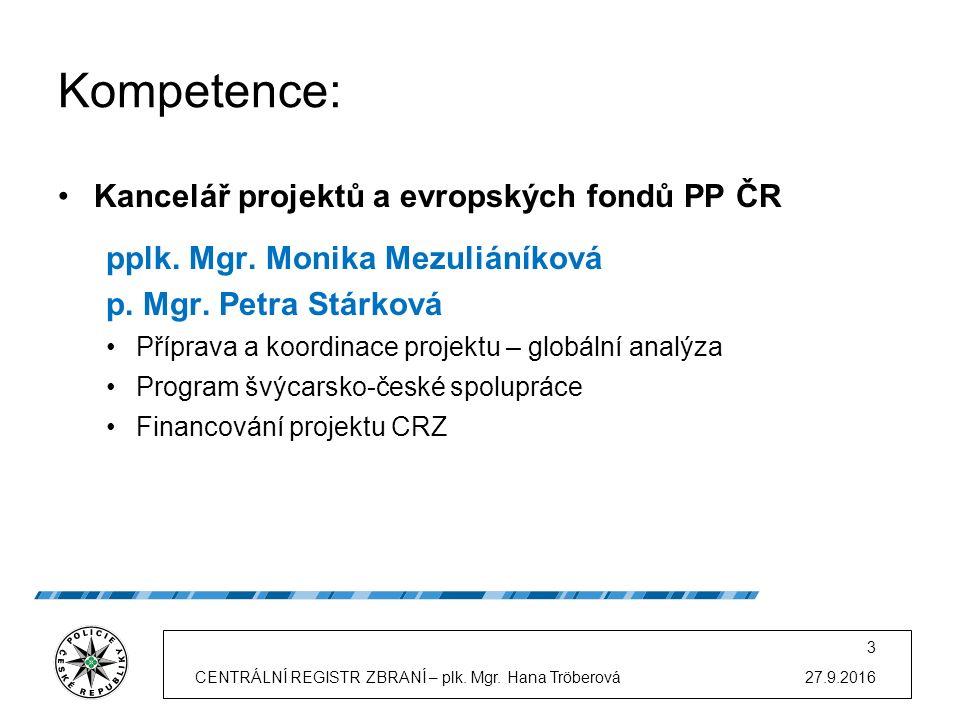 Kompetence: Kancelář projektů a evropských fondů PP ČR pplk.
