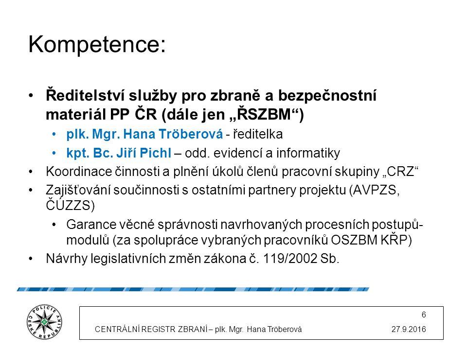 """Kompetence: Ředitelství služby pro zbraně a bezpečnostní materiál PP ČR (dále jen """"ŘSZBM ) plk."""