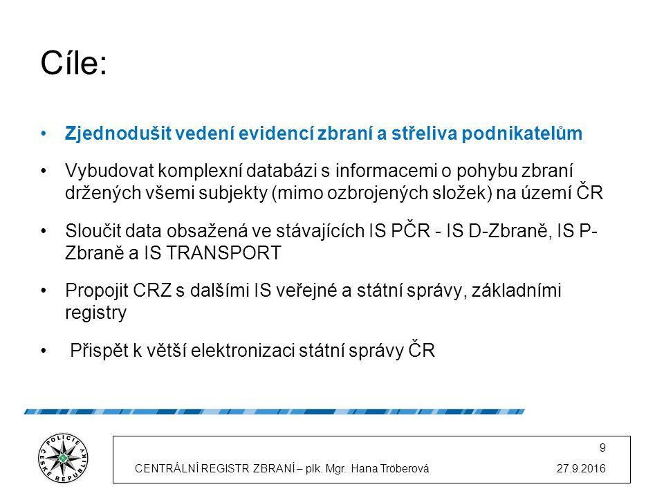 """Obsah """"CRZ : údaje o všech zbraních od okamžiku začátku své existence na území ČR (vyrobených, dovezených) na území ČR až do svého konce (zničení nebo vývozu) monitoring přeprav zbraní určený pro sledování probíhajících přeprav zbraní a plnění oznamovacích povinností o pohybu zbraní on line informace oprávněným subjektům o evidovaných a registrovaných zbraních, informace o jejich technických změnách (např."""