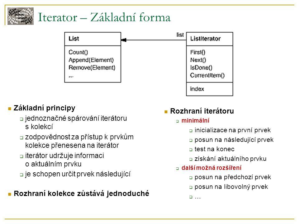 Iterator – Základní forma Základní principy  jednoznačné spárování iterátoru s kolekcí  zodpovědnost za přístup k prvkům kolekce přenesena na iterátor  iterátor udržuje informaci o aktuálním prvku  je schopen určit prvek následující Rozhraní iterátoru  minimální  inicializace na první prvek  posun na následující prvek  test na konec  získání aktuálního prvku  další možná rozšíření  posun na předchozí prvek  posun na libovolný prvek  … Rozhraní kolekce zůstává jednoduché
