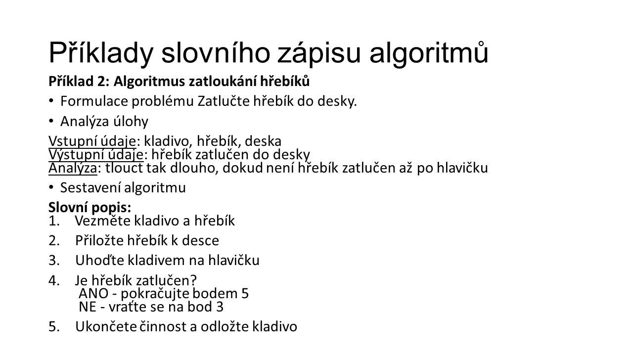 Příklady slovního zápisu algoritmů Příklad 2: Algoritmus zatloukání hřebíků Formulace problému Zatlučte hřebík do desky.