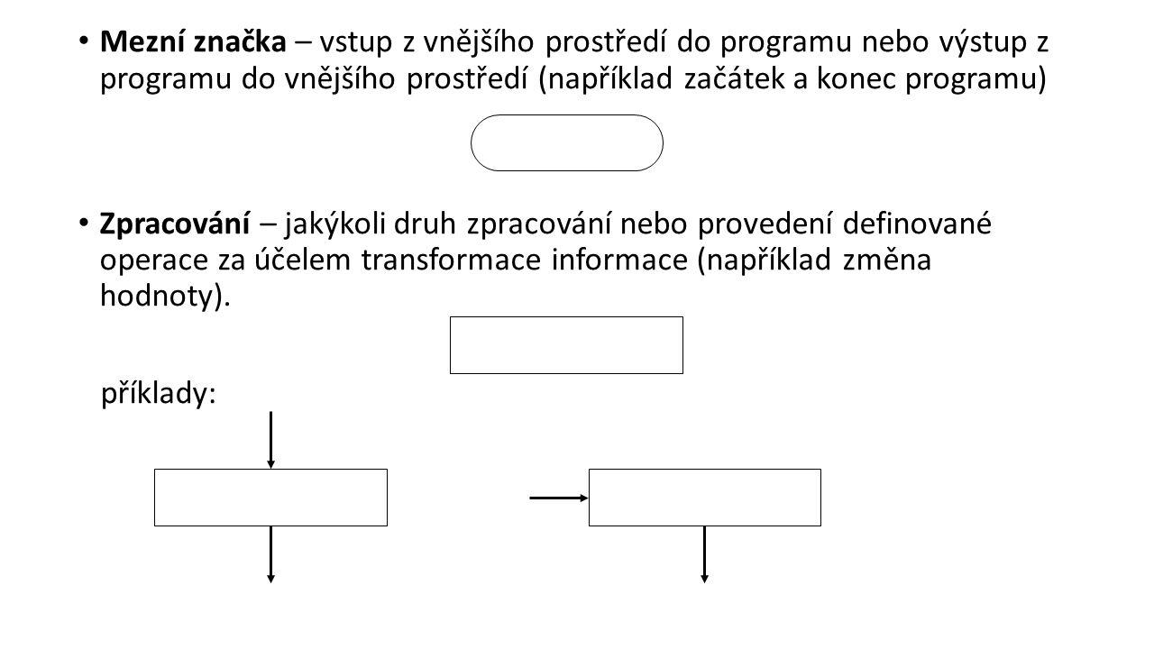 Mezní značka – vstup z vnějšího prostředí do programu nebo výstup z programu do vnějšího prostředí (například začátek a konec programu) Zpracování – jakýkoli druh zpracování nebo provedení definované operace za účelem transformace informace (například změna hodnoty).