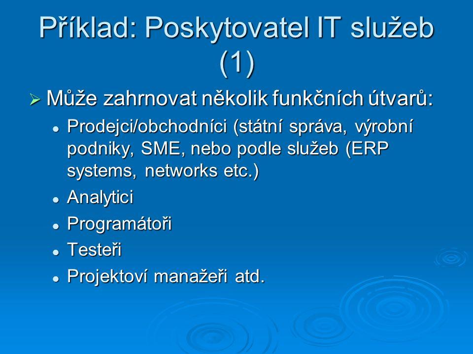 Příklad: Poskytovatel IT služeb (1)  Může zahrnovat několik funkčních útvarů: Prodejci/obchodníci (státní správa, výrobní podniky, SME, nebo podle služeb (ERP systems, networks etc.) Prodejci/obchodníci (státní správa, výrobní podniky, SME, nebo podle služeb (ERP systems, networks etc.) Analytici Analytici Programátoři Programátoři Testeři Testeři Projektoví manažeři atd.