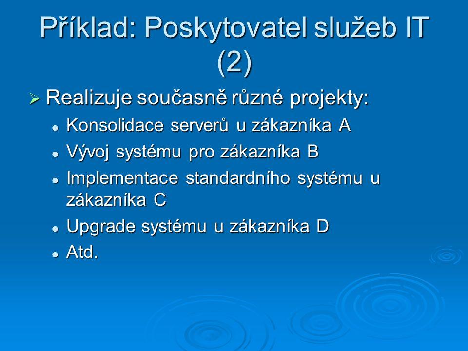Příklad: Poskytovatel služeb IT (2)  Realizuje současně různé projekty: Konsolidace serverů u zákazníka A Konsolidace serverů u zákazníka A Vývoj systému pro zákazníka B Vývoj systému pro zákazníka B Implementace standardního systému u zákazníka C Implementace standardního systému u zákazníka C Upgrade systému u zákazníka D Upgrade systému u zákazníka D Atd.