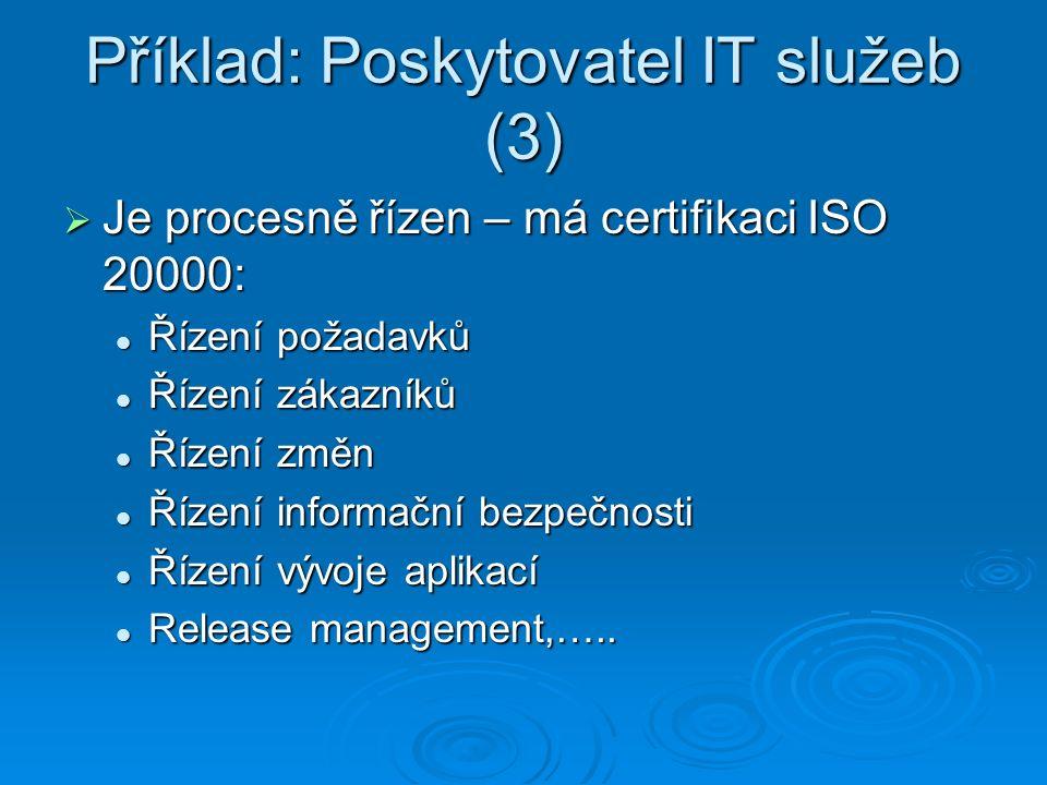 Příklad: Poskytovatel IT služeb (3)  Je procesně řízen – má certifikaci ISO 20000: Řízení požadavků Řízení požadavků Řízení zákazníků Řízení zákazníků Řízení změn Řízení změn Řízení informační bezpečnosti Řízení informační bezpečnosti Řízení vývoje aplikací Řízení vývoje aplikací Release management,…..