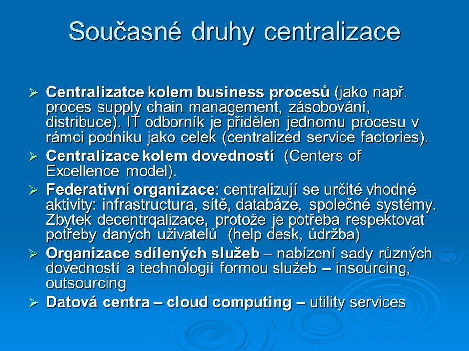 Současné druhy centralizace  Centralizatce kolem business procesů (jako např.