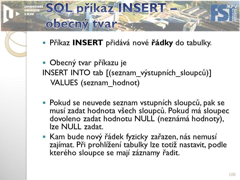 Příkaz INSERT přidává nové řádky do tabulky.