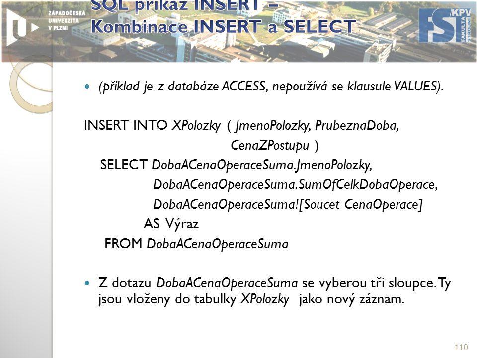 (příklad je z databáze ACCESS, nepoužívá se klausule VALUES).
