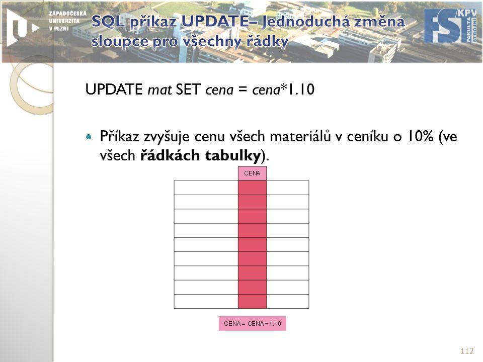 UPDATE mat SET cena = cena*1.10 Příkaz zvyšuje cenu všech materiálů v ceníku o 10% (ve všech řádkách tabulky).