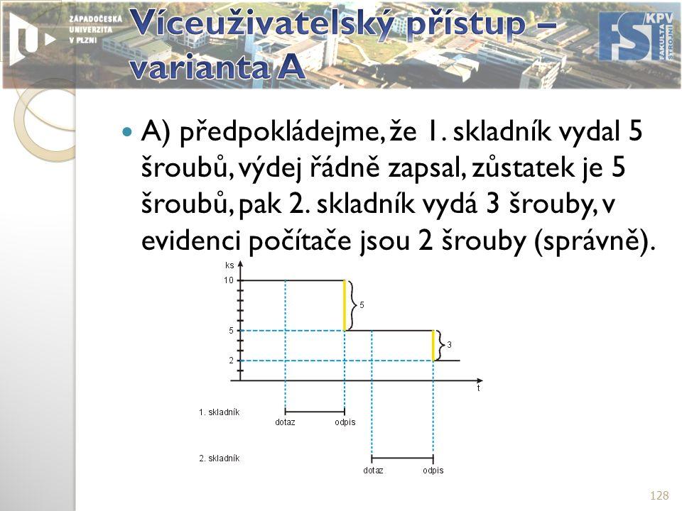 A) předpokládejme, že 1.skladník vydal 5 šroubů, výdej řádně zapsal, zůstatek je 5 šroubů, pak 2.