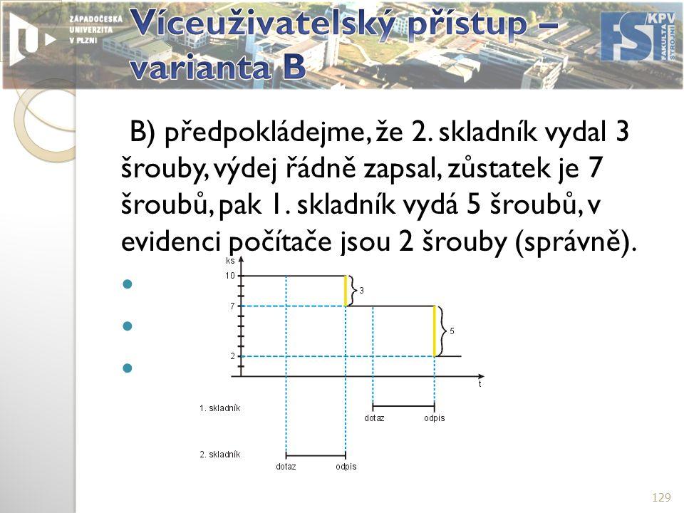 B) předpokládejme, že 2.skladník vydal 3 šrouby, výdej řádně zapsal, zůstatek je 7 šroubů, pak 1.