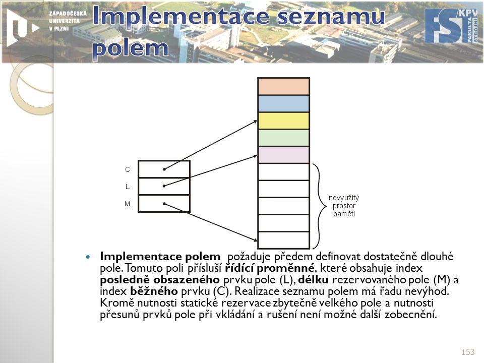 Implementace polem požaduje předem definovat dostatečně dlouhé pole.