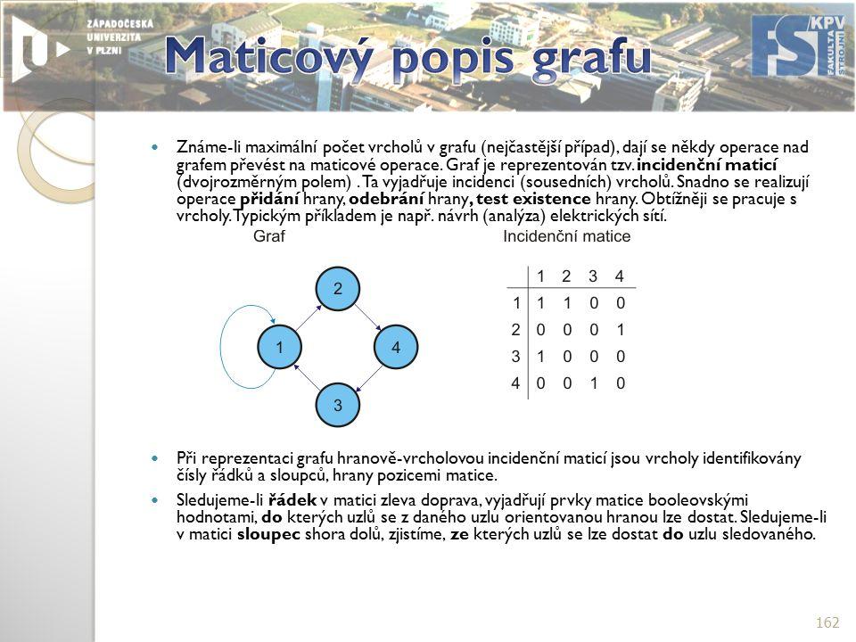 Známe-li maximální počet vrcholů v grafu (nejčastější případ), dají se někdy operace nad grafem převést na maticové operace.