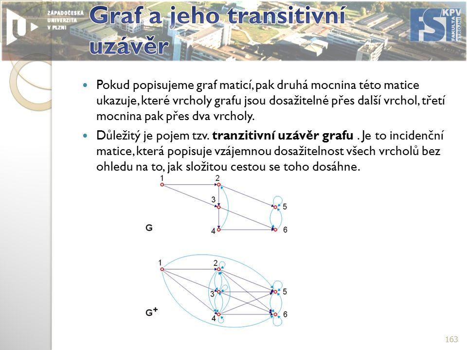 Pokud popisujeme graf maticí, pak druhá mocnina této matice ukazuje, které vrcholy grafu jsou dosažitelné přes další vrchol, třetí mocnina pak přes dva vrcholy.