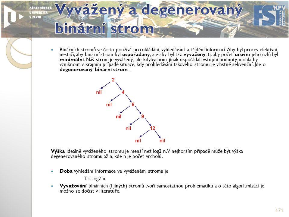Binárních stromů se často používá pro ukládání, vyhledávání a třídění informací.