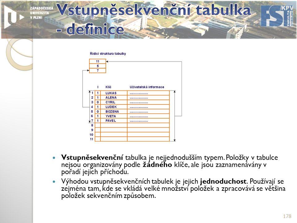 Vstupněsekvenční tabulka je nejjednodušším typem.