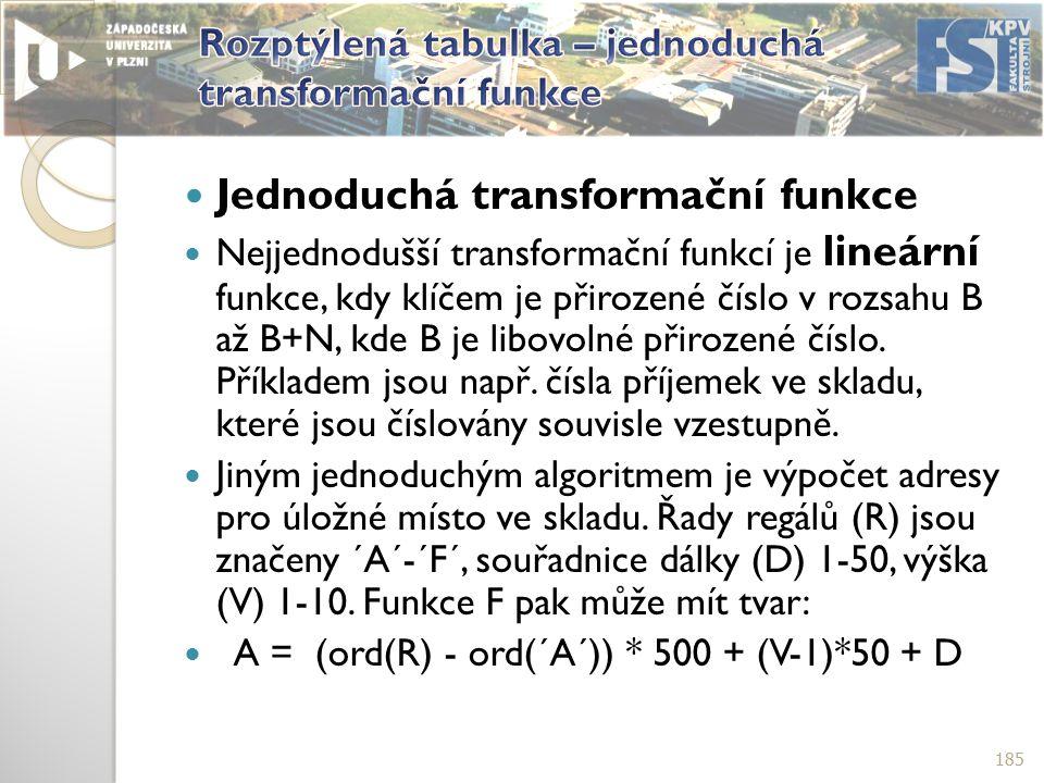 Jednoduchá transformační funkce Nejjednodušší transformační funkcí je lineární funkce, kdy klíčem je přirozené číslo v rozsahu B až B+N, kde B je libovolné přirozené číslo.