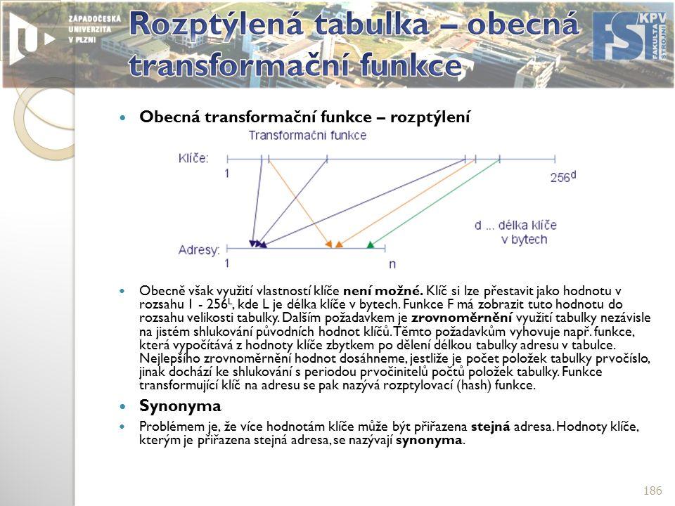 Obecná transformační funkce – rozptýlení Obecně však využití vlastností klíče není možné.