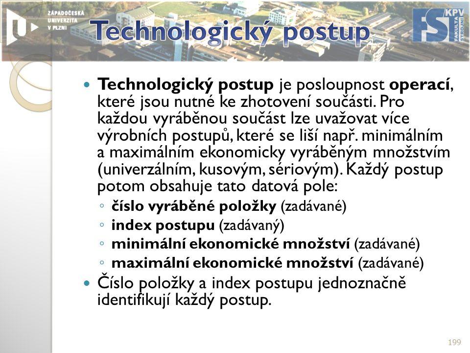 Technologický postup je posloupnost operací, které jsou nutné ke zhotovení součásti.