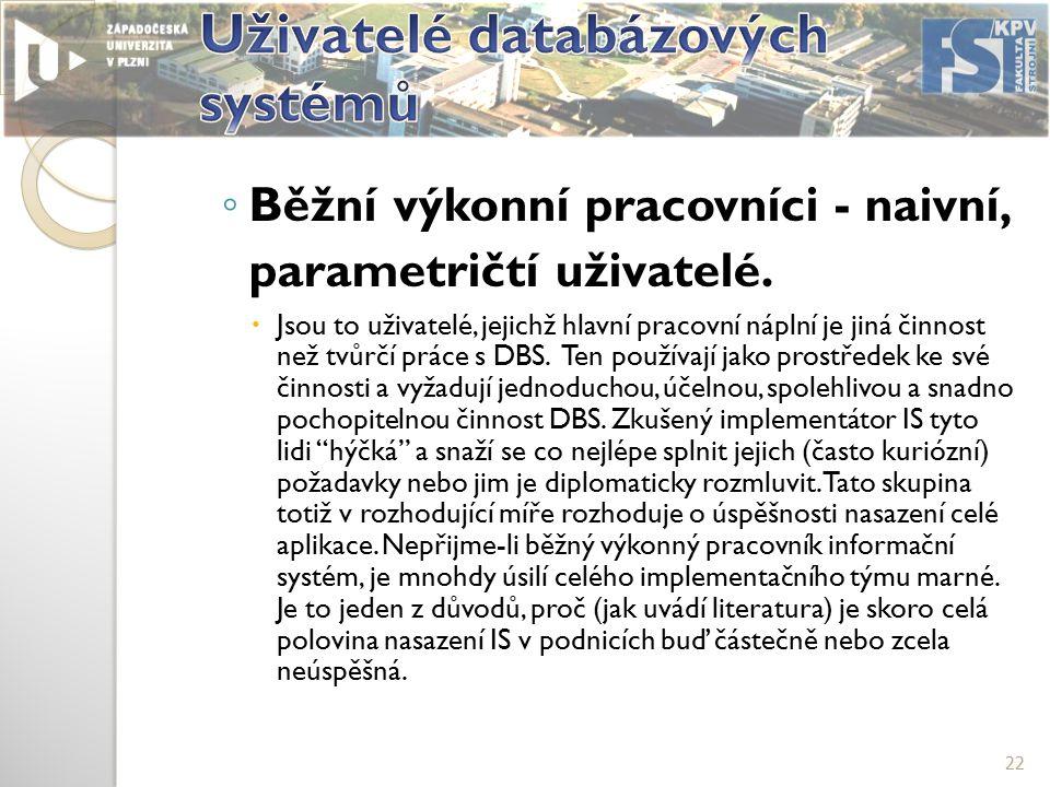 ◦ Běžní výkonní pracovníci - naivní, parametričtí uživatelé.