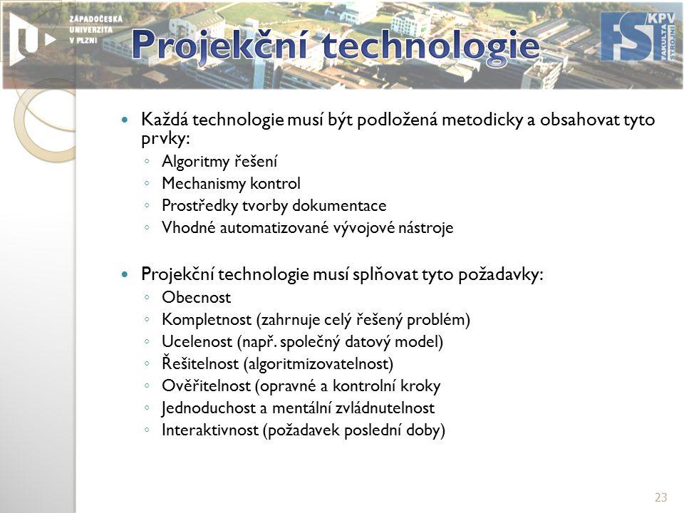 Každá technologie musí být podložená metodicky a obsahovat tyto prvky: ◦ Algoritmy řešení ◦ Mechanismy kontrol ◦ Prostředky tvorby dokumentace ◦ Vhodné automatizované vývojové nástroje Projekční technologie musí splňovat tyto požadavky: ◦ Obecnost ◦ Kompletnost (zahrnuje celý řešený problém) ◦ Ucelenost (např.