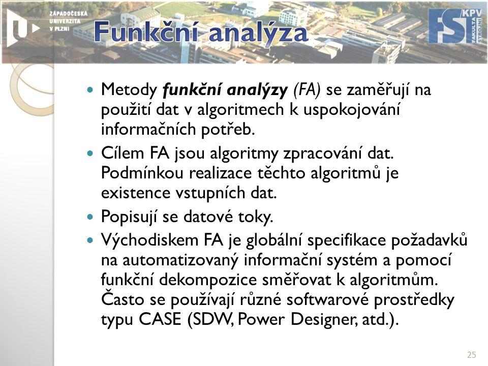 Metody funkční analýzy (FA) se zaměřují na použití dat v algoritmech k uspokojování informačních potřeb.