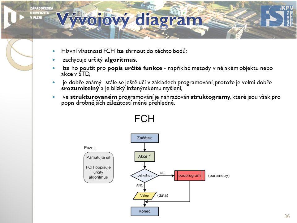 Hlavní vlastnosti FCH lze shrnout do těchto bodů: zachycuje určitý algoritmus, lze ho použít pro popis určité funkce - například metody v nějakém objektu nebo akce v STD, je dobře známý -stále se ještě učí v základech programování, protože je velmi dobře srozumitelný a je blízký inženýrskému myšlení, ve strukturovaném programování je nahrazován struktogramy, které jsou však pro popis drobnějších záležitostí méně přehledné.