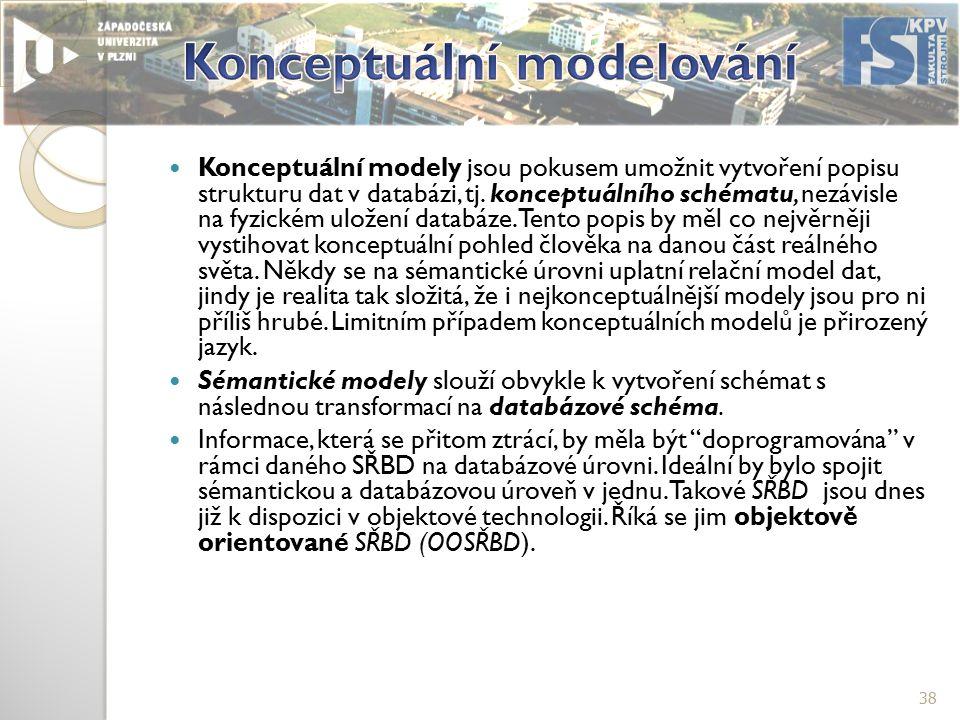 Konceptuální modely jsou pokusem umožnit vytvoření popisu strukturu dat v databázi, tj.
