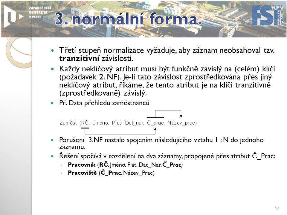 Třetí stupeň normalizace vyžaduje, aby záznam neobsahoval tzv.