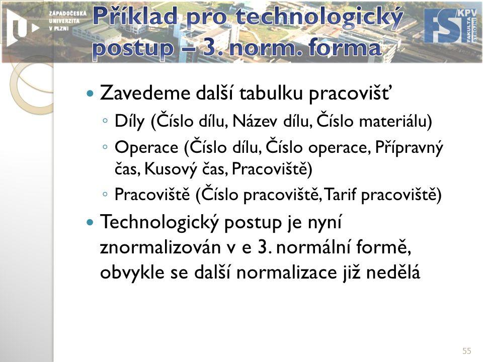 Zavedeme další tabulku pracovišť ◦ Díly ( Číslo dílu, Název dílu, Číslo materiálu) ◦ Operace (Číslo dílu, Číslo operace, Přípravný čas, Kusový čas, Pracoviště) ◦ Pracoviště (Číslo pracoviště, Tarif pracoviště) Technologický postup je nyní znormalizován v e 3.