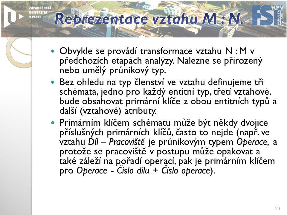 Obvykle se provádí transformace vztahu N : M v předchozích etapách analýzy.