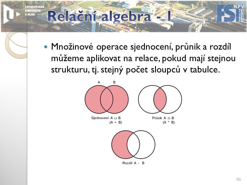 Množinové operace sjednocení, průnik a rozdíl můžeme aplikovat na relace, pokud mají stejnou strukturu, tj.