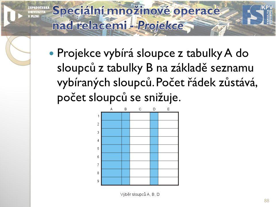 Projekce vybírá sloupce z tabulky A do sloupců z tabulky B na základě seznamu vybíraných sloupců.