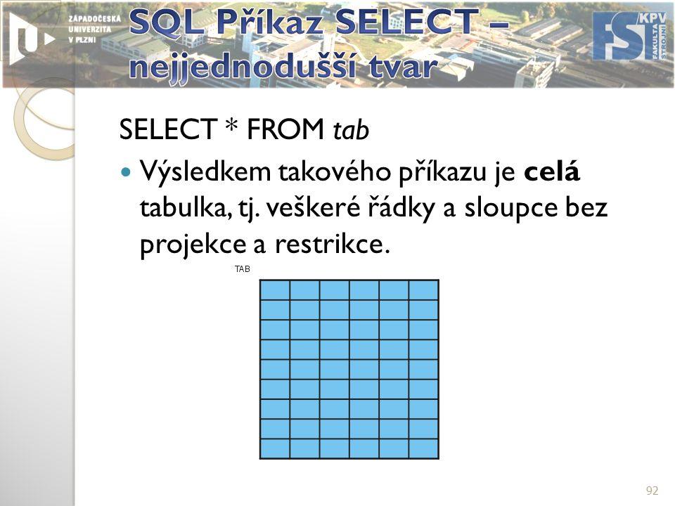 SELECT * FROM tab Výsledkem takového příkazu je celá tabulka, tj.