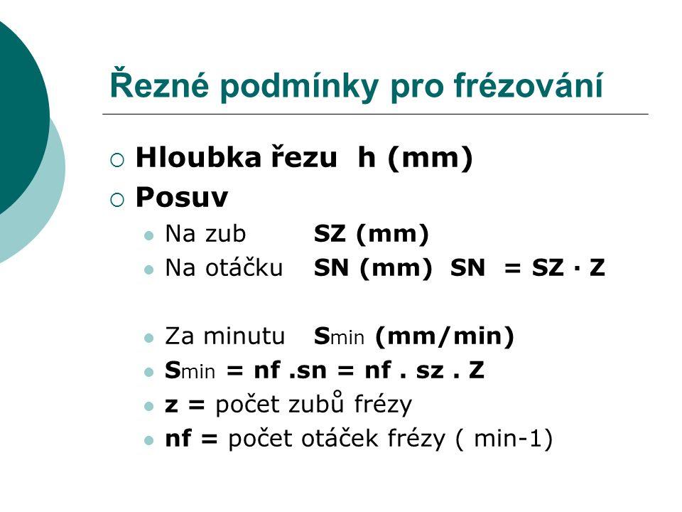 Řezné podmínky pro frézování  Hloubka řezu h (mm)  Posuv Na zub SZ (mm) Na otáčku SN (mm) SN = SZ ∙ Z Za minutuS min (mm/min) S min = nf.sn = nf. sz