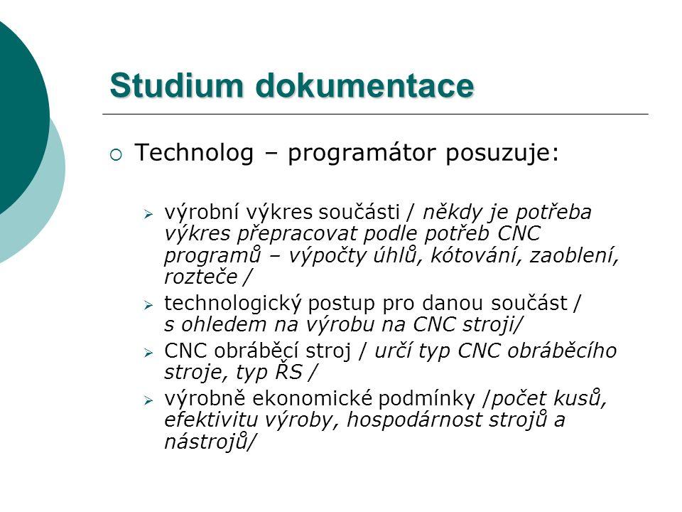Studium dokumentace  Technolog – programátor posuzuje:  výrobní výkres součásti / někdy je potřeba výkres přepracovat podle potřeb CNC programů – vý